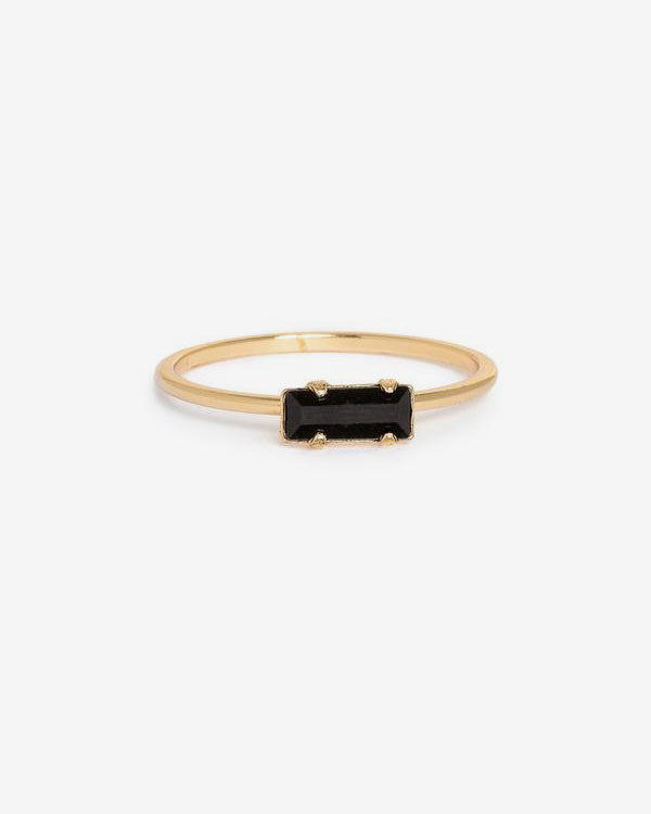 Tiny Baguette Ring Yellow Gold/Black Swarovski