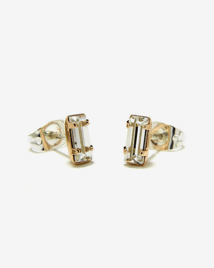 Tiny Baguette Studs Yellow Gold
