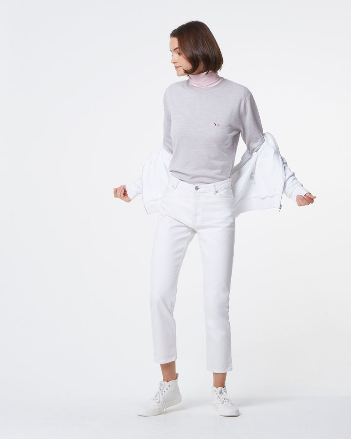 Virgin Wool TriColor R Neck Pullover