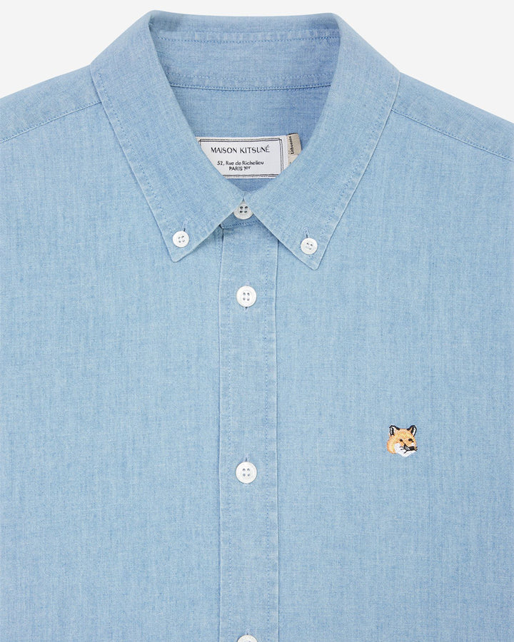 Chambray Fox Head Embroidery Classic Shirt