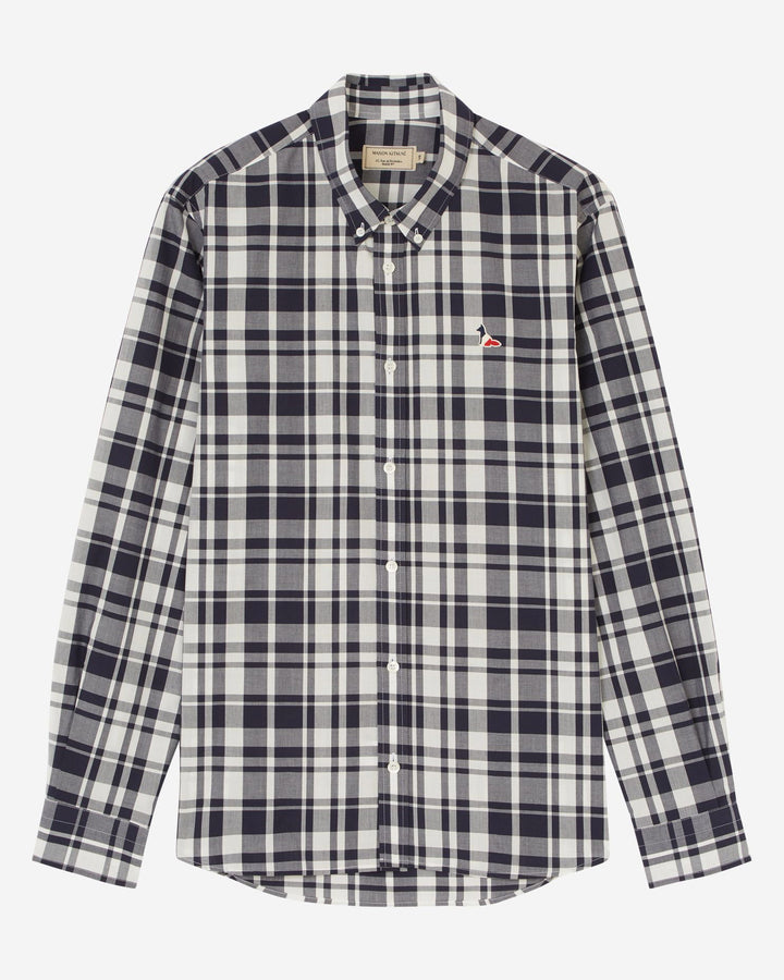 Large Check Classic Shirt Navy