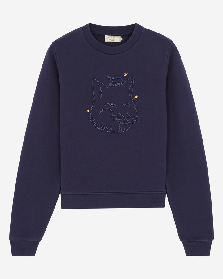Sweatshirt Fox Drawing Navy