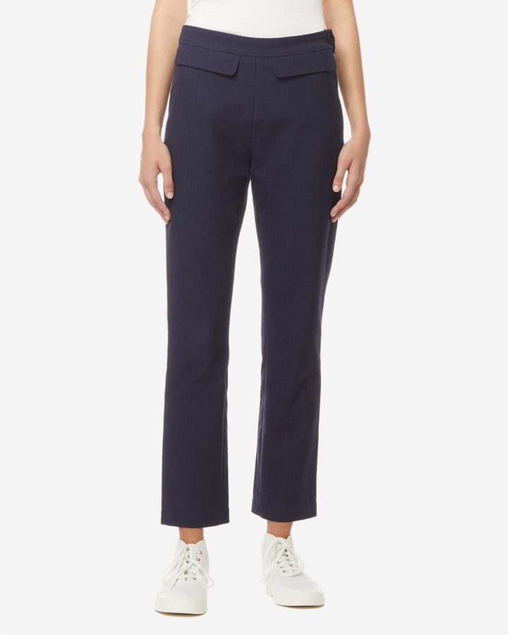 Small Check Adele Cropped Trousers Navy