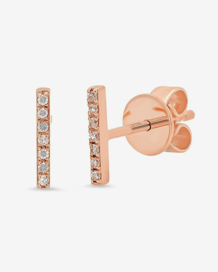 14k Rose Gold Pave Bar Studs with White Diamonds
