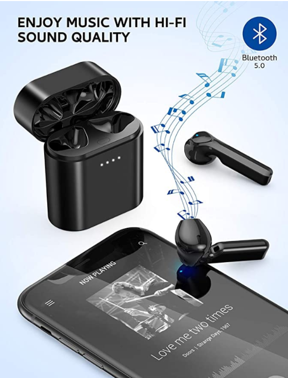 Wireless Earbuds, VIPEX Bluetooth 5.0 True Headphones IPX7 Waterproof Deep Bass