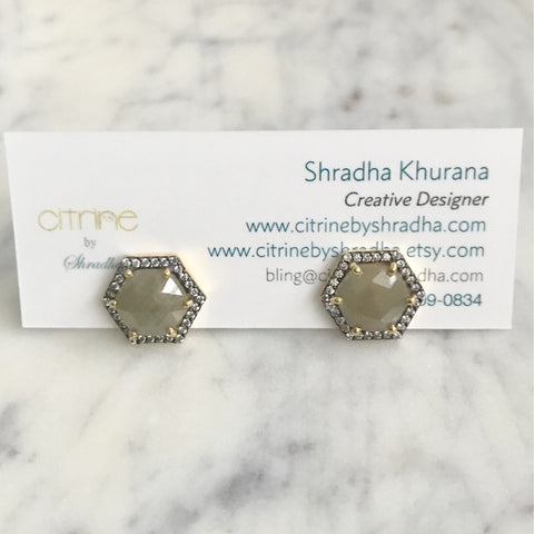Raw Sapphire and Cubic Zirconia Stud Earrings