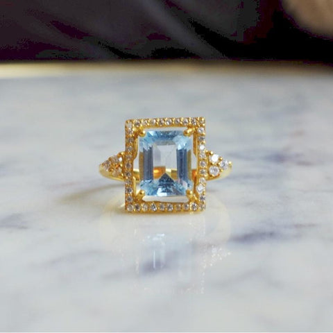 Sky Blue Topaz Solitaire Halo Ring