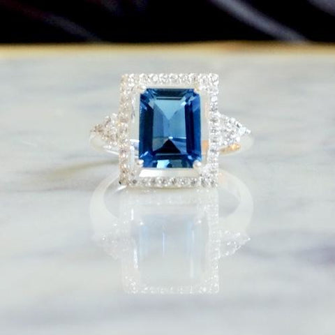 London Blue Topaz Solitaire Halo Ring