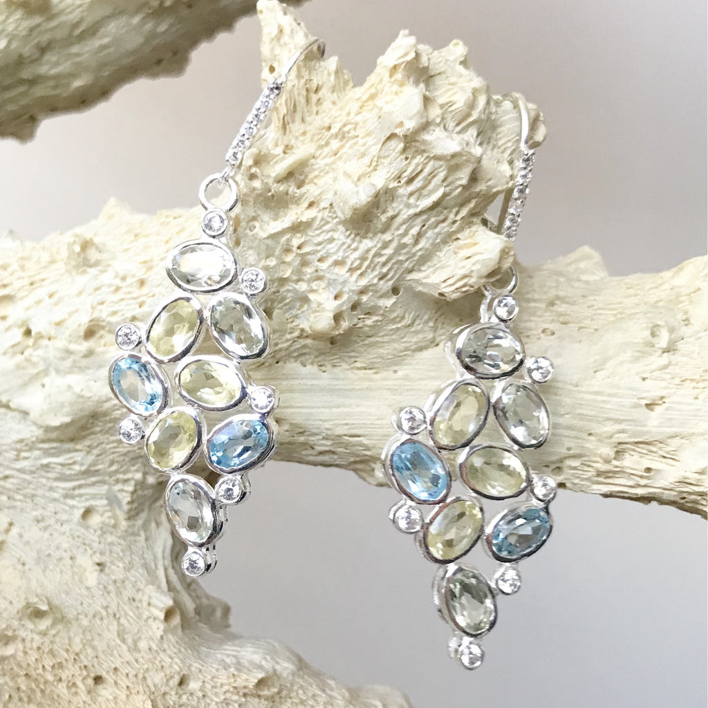 Blue and Lemon Topaz Earrings in Silver