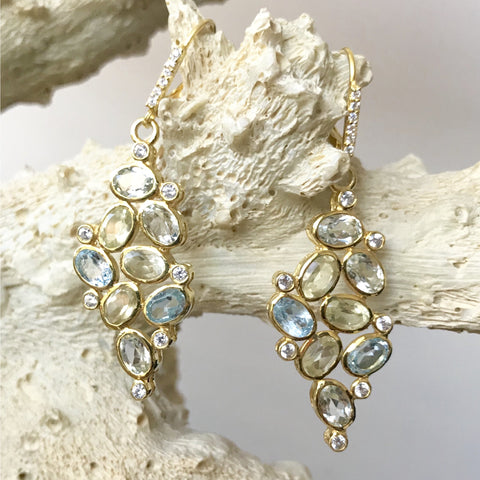 Blue and Lemon Topaz Earrings in Gold