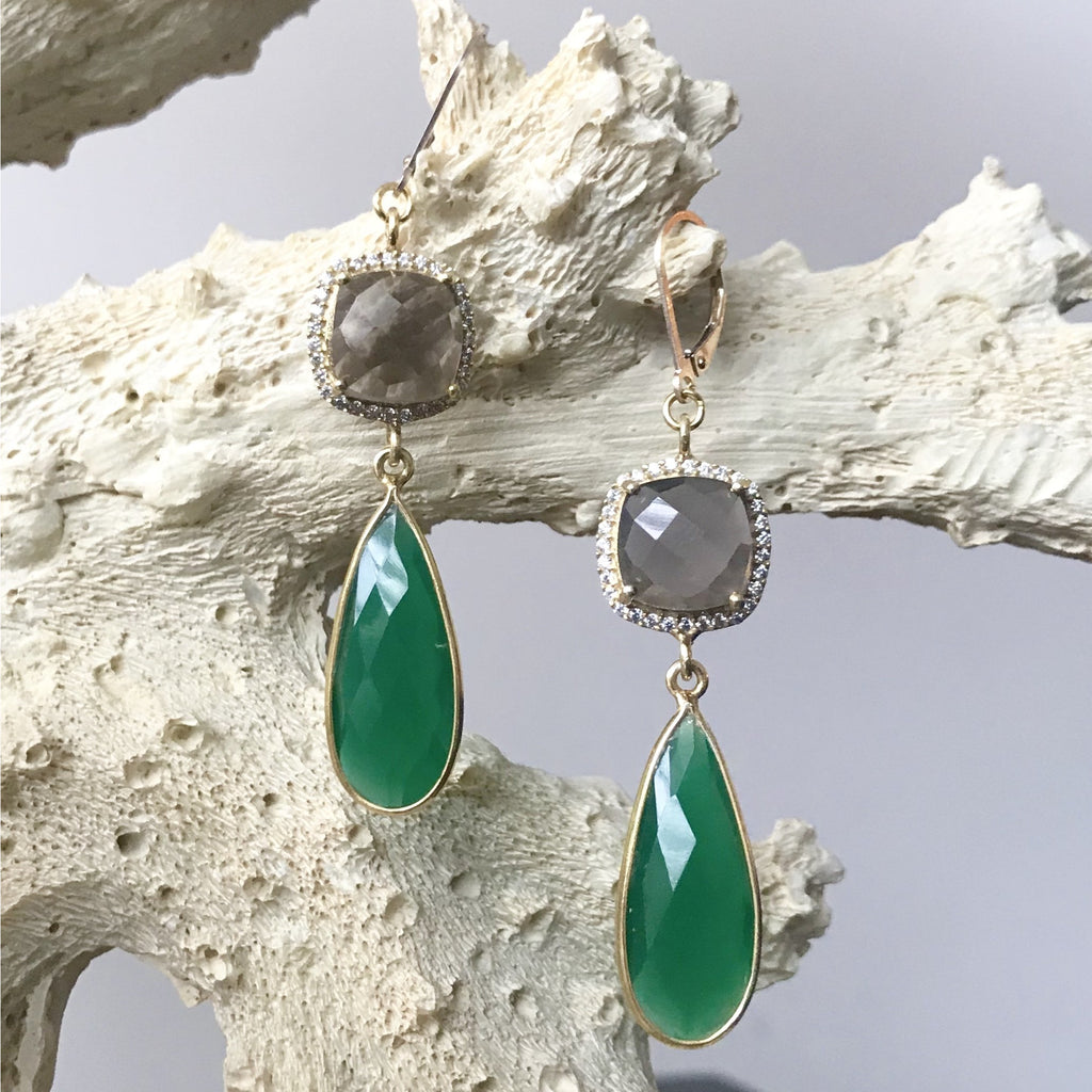 Green Onyx, Smoky Topaz and Cubic Zirconia Earrings