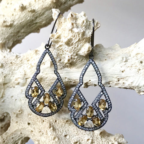 Citrine and Cubic Zirconia Earrings