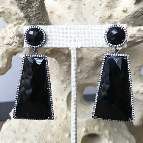 Geometric Black Onyx and Cubic Zirconia Earrings