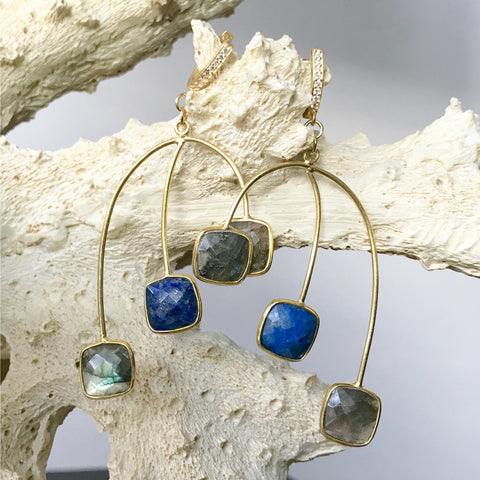 Lapis and Labradorite Statement Earrings