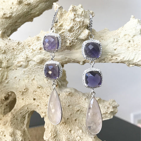 Rose Quartz, Amethyst and Cubic Zirconia Earrings