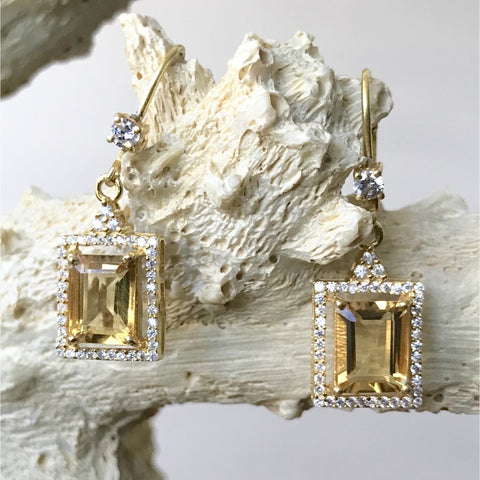 Citrine and Cubic Zirconia Everyday Earrings
