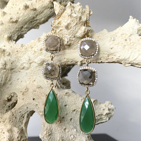 Green Onyx and Smoky Topaz Earrings in Gold