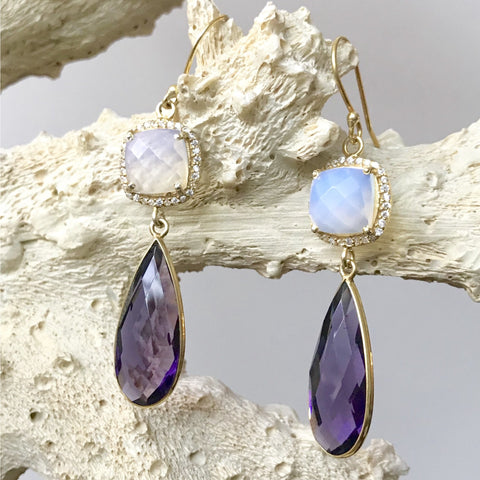 Amethyst and Milky Opal Earrings