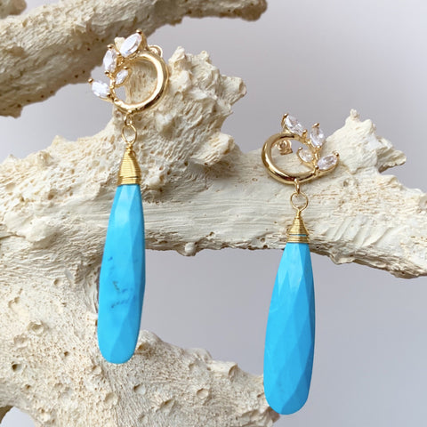 Long Turquoise and Cubic Zirconia Earrings