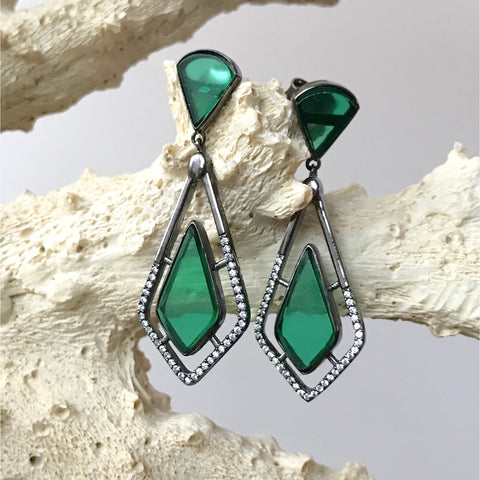 Emerald and Cubic Zirconia Earrings in Gunmetal