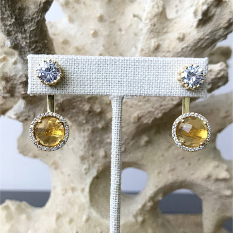 Citrine Convertible Stud Earrings