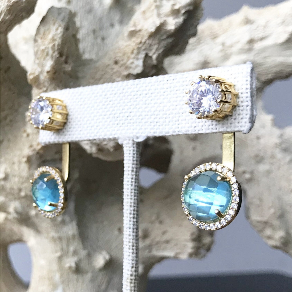 Blue Topaz Convertible Stud Earrings