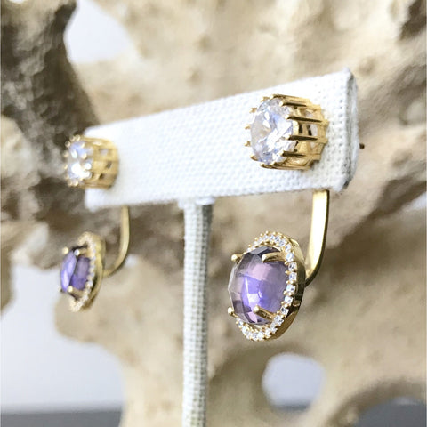 Purple Amethyst Convertible Stud Earrings