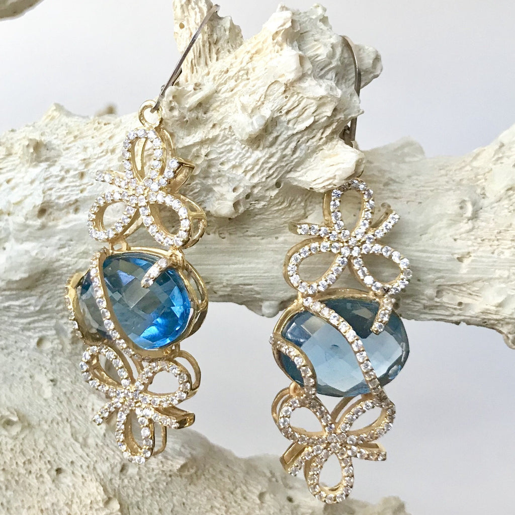 Blue Topaz and Cubic Zirconia Bow Earrings