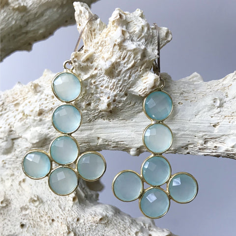 Aqua Chalcedony Statement Earrings