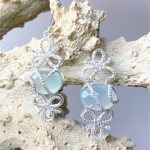 Aqua Chalcedony and Cubic Zirconia Bow Earrings