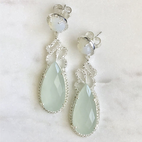 Aqua Peru Chalcedony and Cubic Zirconia Earrings in Sterling Silver