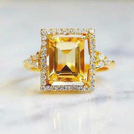 Citrine Solitaire Halo Ring in Sizes 6, 7 and 9