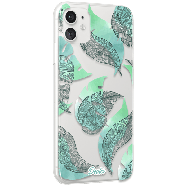 Coque Transparente Green leaves