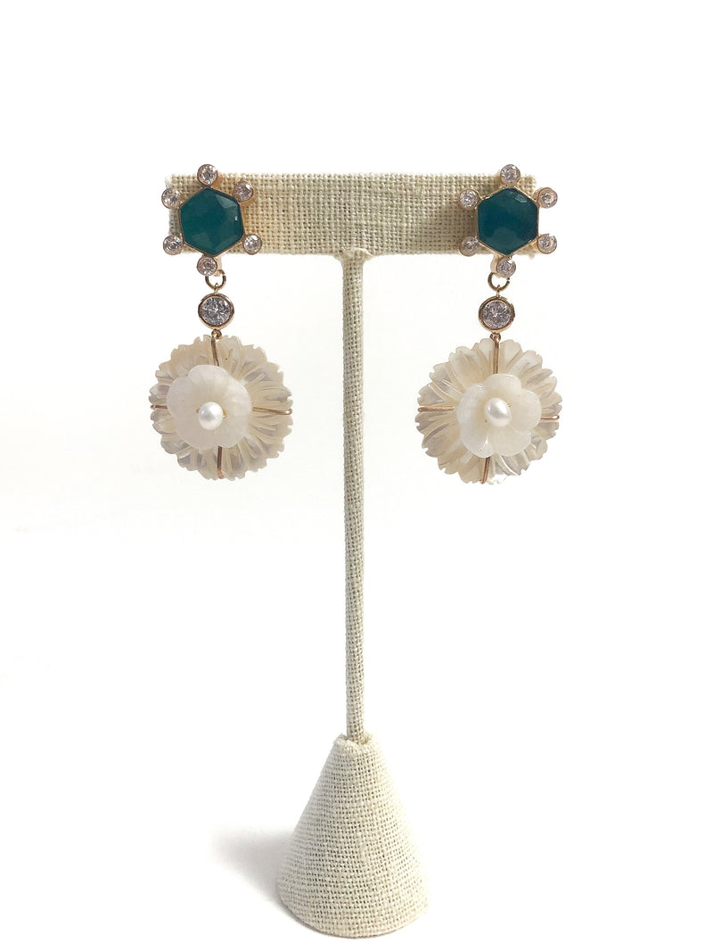 jade halo sparkly mother of pearl floral drop