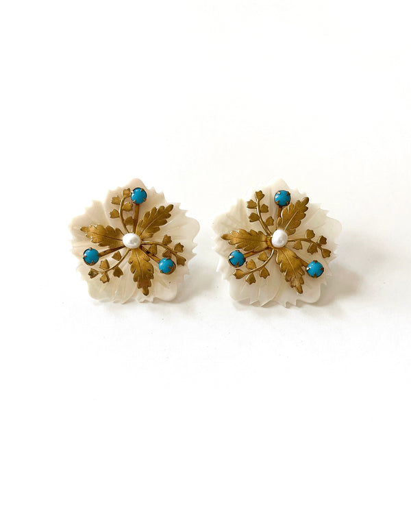 turquoise & pearl floral studs