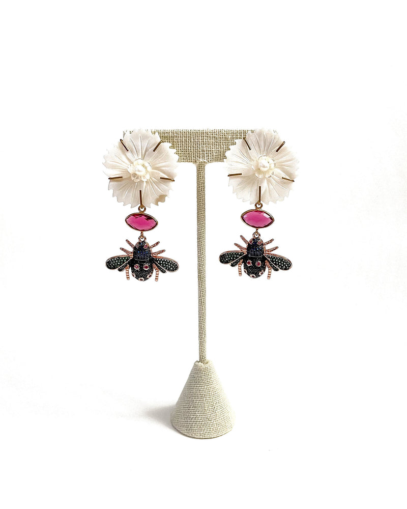 mop flower pink gemstone & embellished bugs