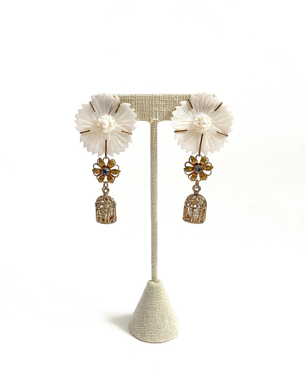 mother of pearl & aquamarine flower & pearl birdcage