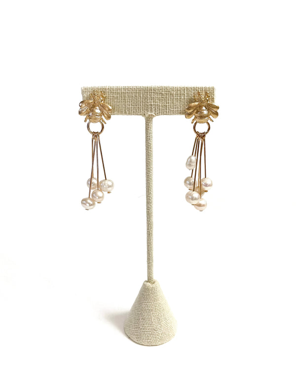 gold bees & pearly dangle