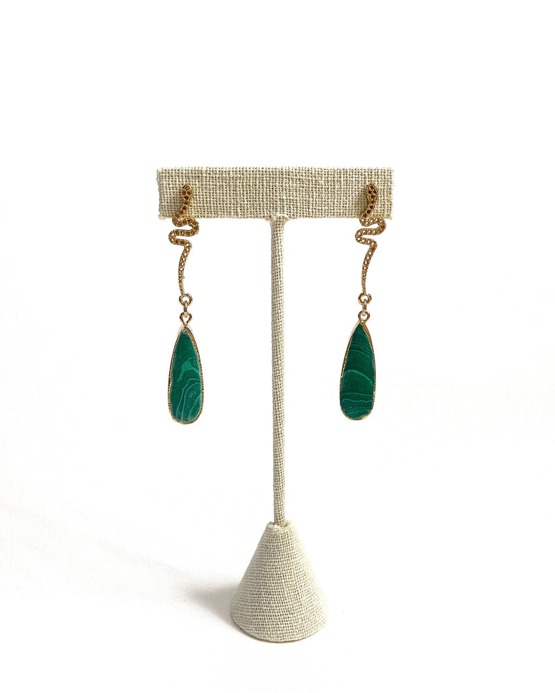 gold snake teardrop malachite dangles