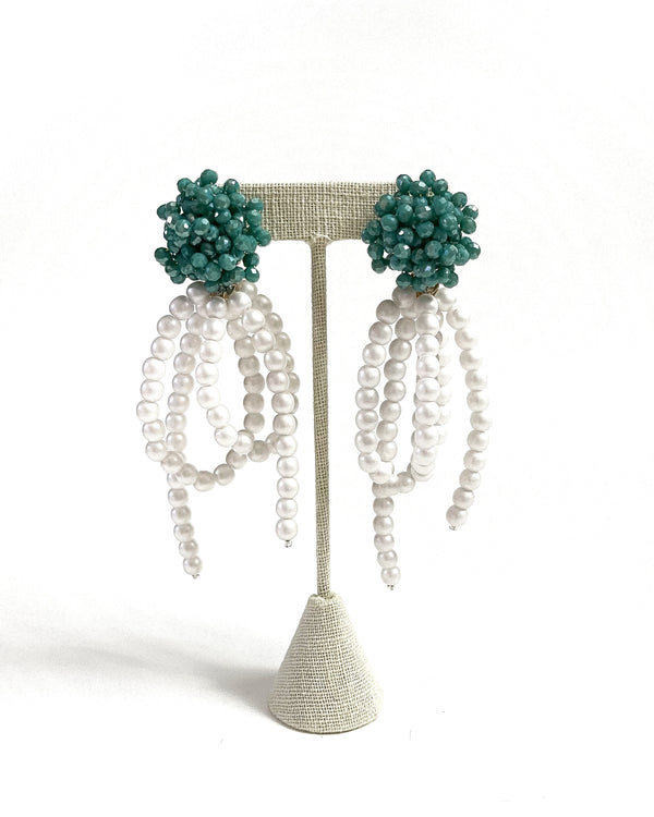 teal & pearly party tassel