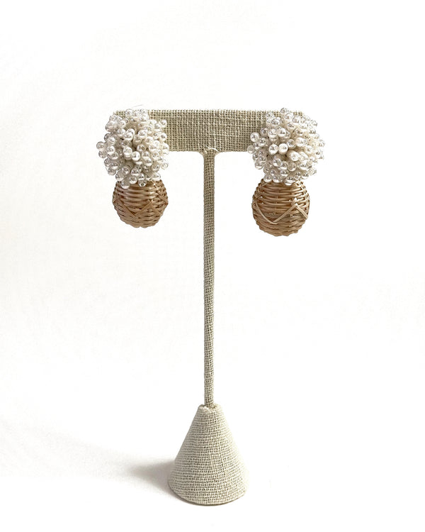 pearly wicker bauble dangles