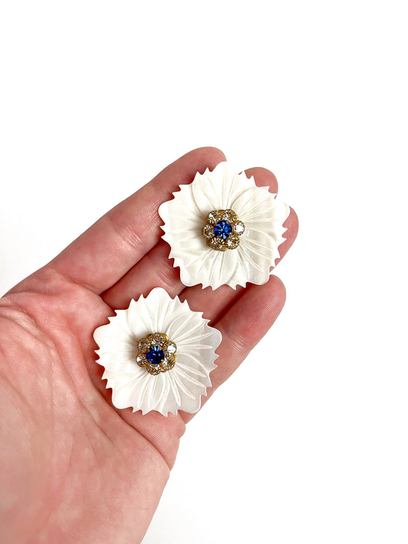 mother of pearl flower embellished stud