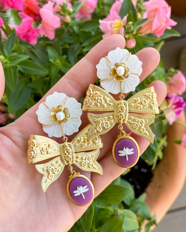 mother of pearl flower brass bow & dragonfly cameo