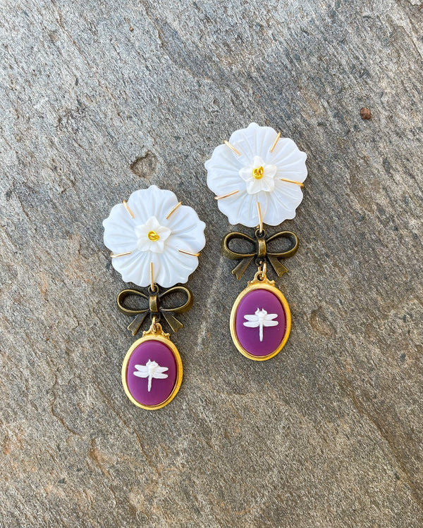 mini mother of pearl flower brass bow & dragonfly cameo