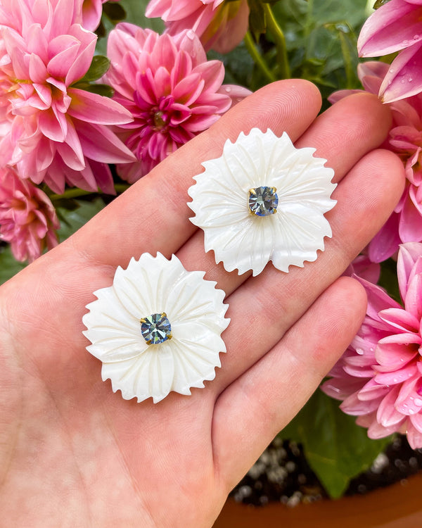 mother of pearl light blue embellished dahlias