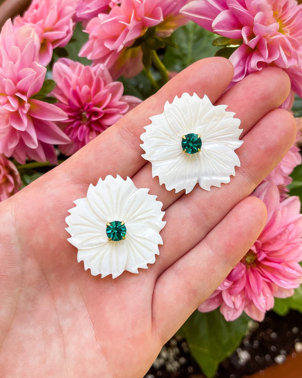 mother of pearl emerald embellished dahlias