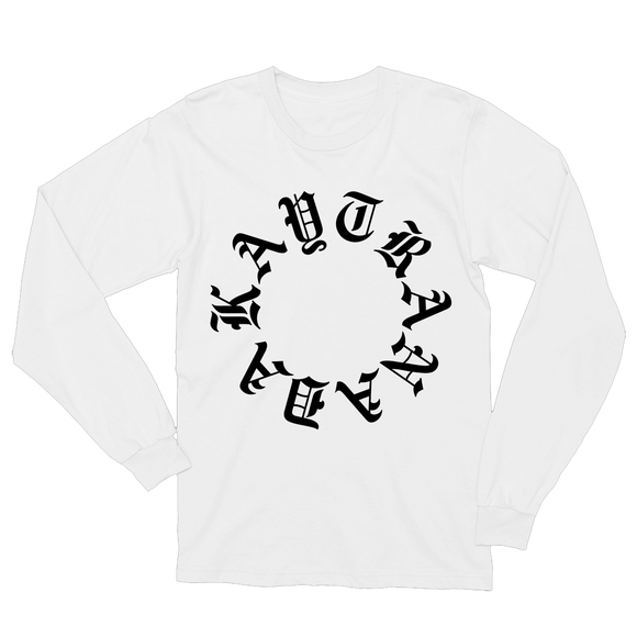Gothic Circle Long Sleeve Tee - White + 'BUBBA' Digital Download