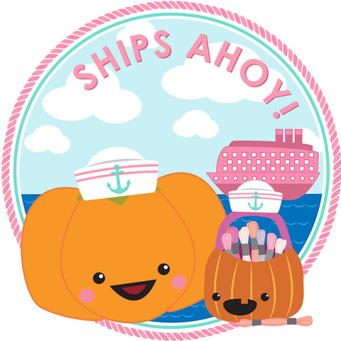 """Text Reads """"Ships Ahoy""""! Sugarloaf and Jack the Pumpkins are dressed up in white sailor hats, standing in front of water and a pink cruise ship."""