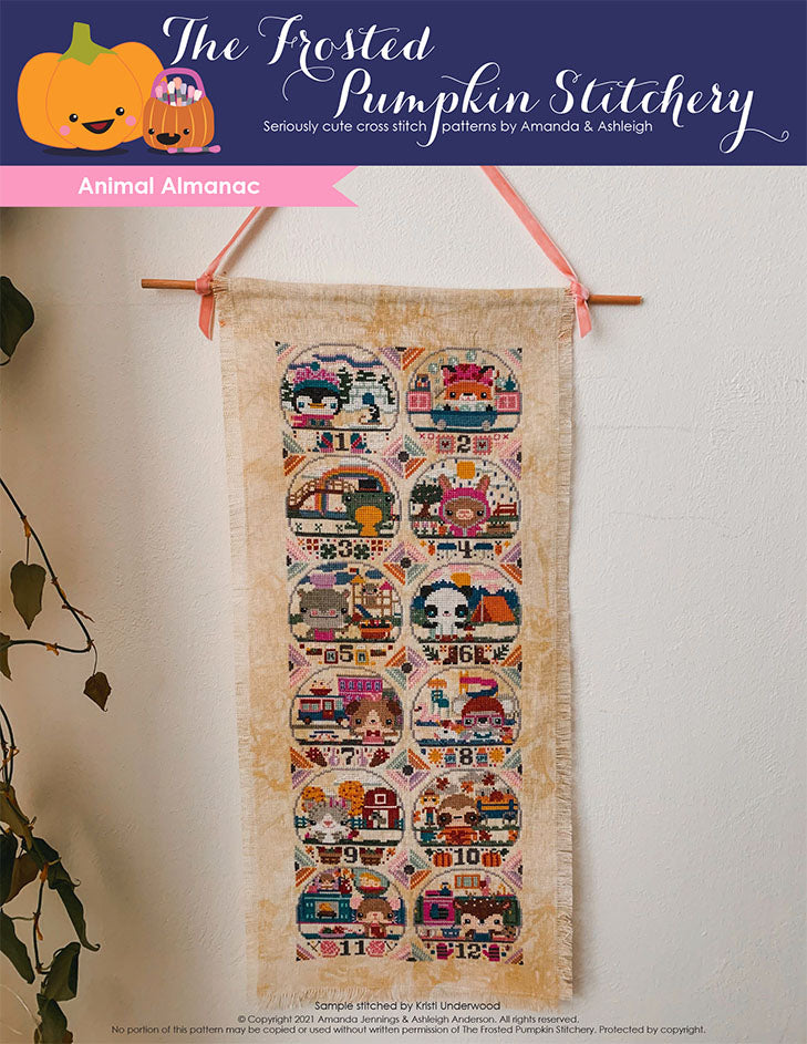 Animal Almanac Cross Stitch Pattern Cover. Includes penguin, fox, frog, rabbit, hippo, panda, dog, koala, cat, sloth, mouse and deer.