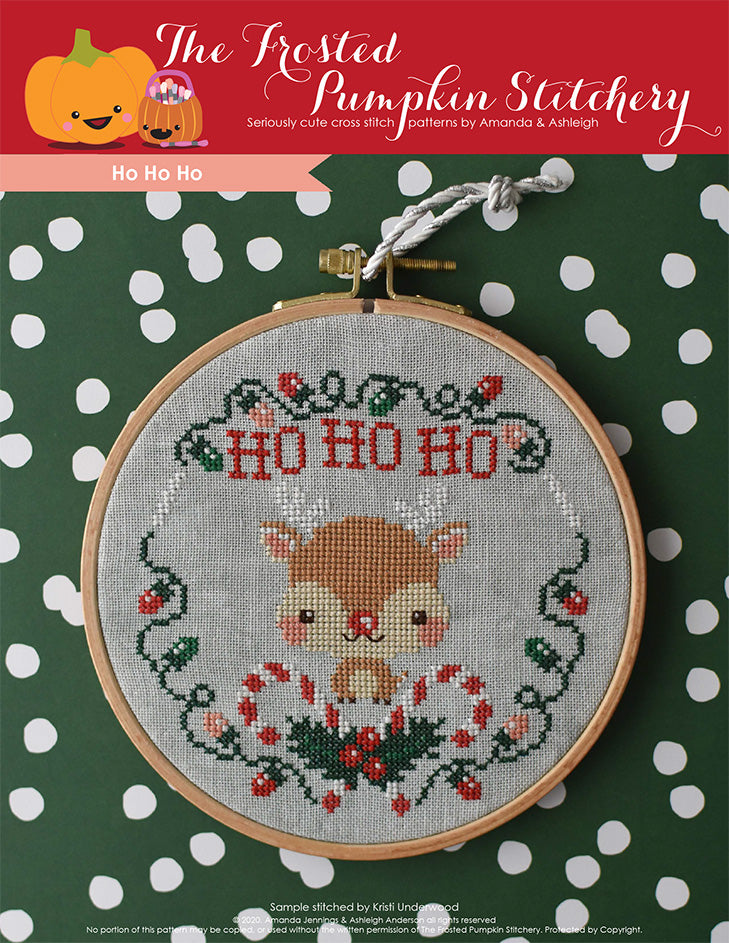 Ho Ho Ho counted cross stitch pattern. Image of Rudolph the Red Nosed Reindeer surrounded by Christmas lights, candy canes and holly.